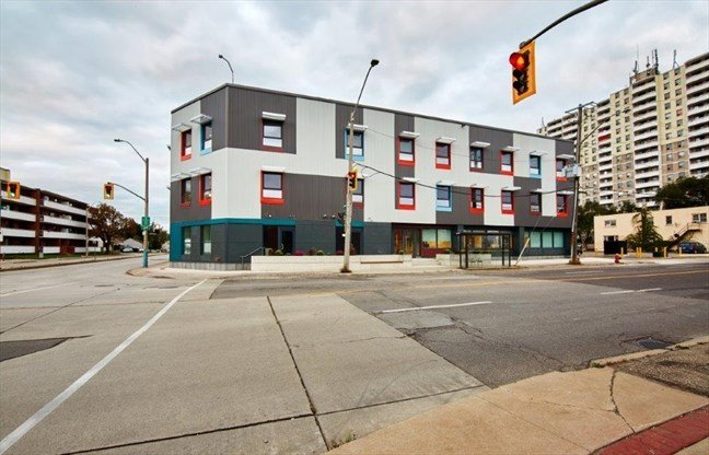 Street view photo of Indwell's Parkdale Landing in Hamilton from across the road on Melvin Ave