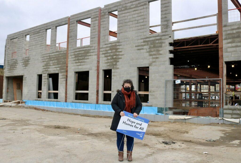 Leah Logan at back of construction - Dogwood Suites, Simcoe
