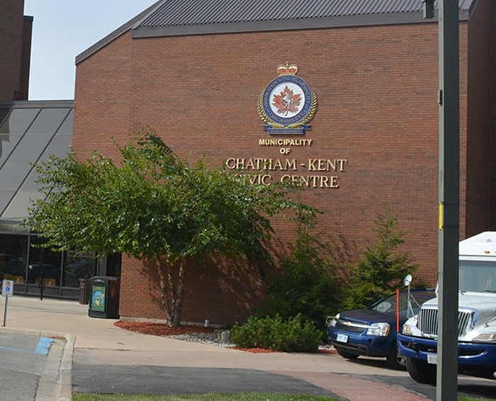 Chatham - civic centre - brick building with logo