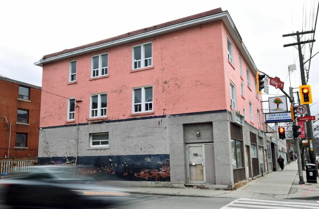 180 Ottawa St, Hamilton - view from Cannon - decrepit pink building