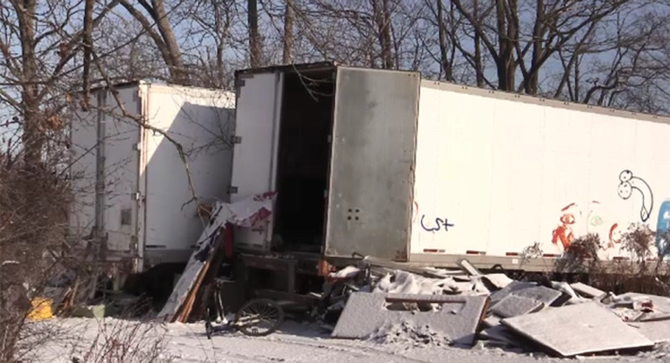 St Thomas - homelessness - an abandoned tractor trailer