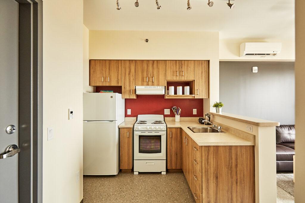 Kitchen in an apartment at McQuesten Lofts in Hamilton