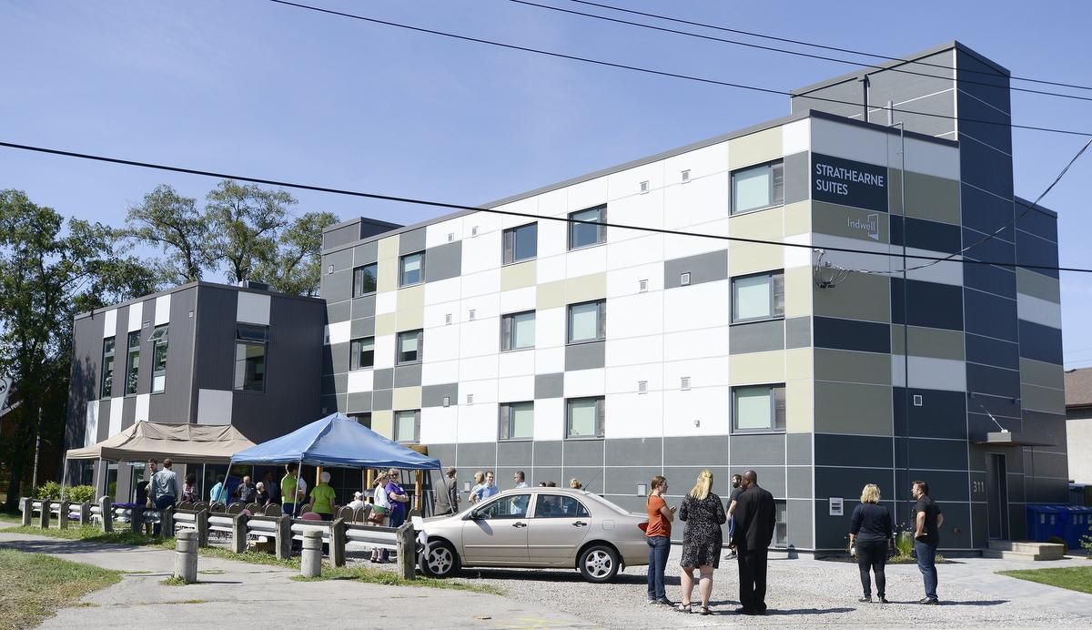 Strathearne Suites Grand Opening - 2016 - people gathering in front of the building