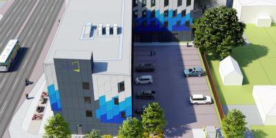 Lakeshore Lofts. Mississauga - 2020 - aerial view - building with blue cladding
