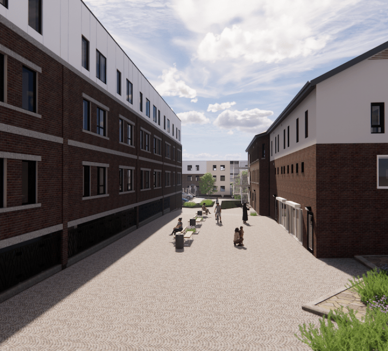 Royal Oak Dairy - stables and south tower and courtyard - rendering